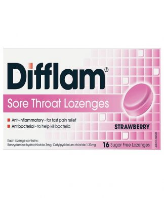 Difflam Plus Lozenge Strawberry Sugar Free 16 Pack