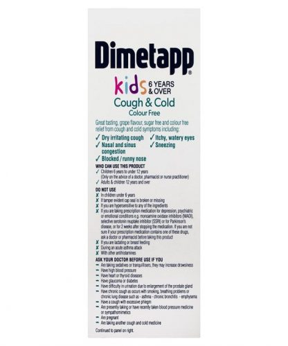 Dimetapp Dextromethorphan Cough & Cold 6Years And Over Colour Free 200ML