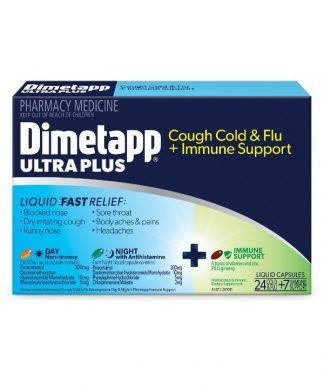 Dimetapp Ultra Plus Cough,Cold And Flu 24 Cold & Flu Caps +7 Immune Support Caps