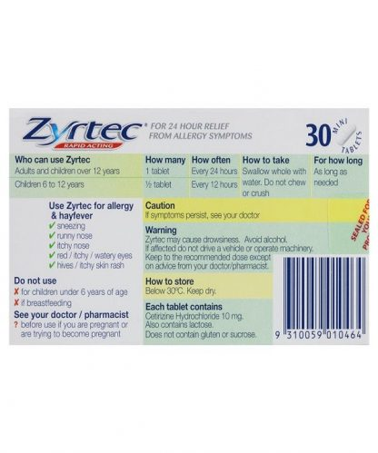 Zyrtec Tablet 10Mg 30 Pack