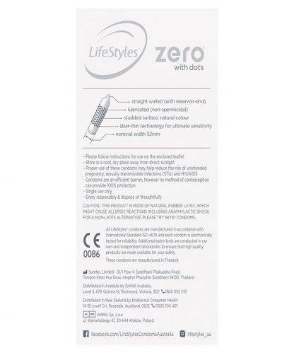 Ansell Lifestyle Condom Zero With Dots 10 Pack