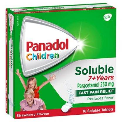 Panadol Colour Free Soluble Tablets 7 Years Strawberry