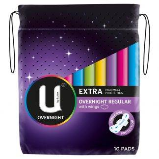 Kotex U Maxi Overnight 10 Pads With Wings