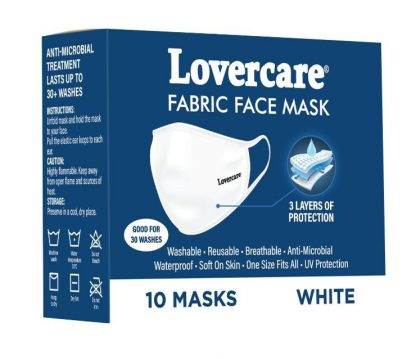 Lovercare Fabric Face Masks White 10 Pack