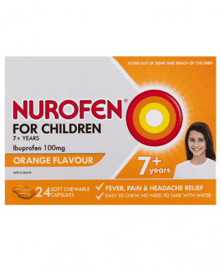 Nurofen 7+ Years Orange 24 Chewable Capsules | Chemistworks | Pharmacy Near Me | Chemist Near Me