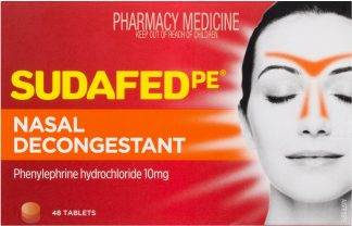 Sudafed Phenylephrine Nasal Decongestant Tablets 48 Pack