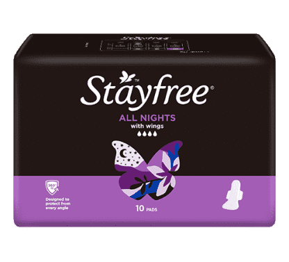 Stayfree All Night Regular With Wings 10 Pads